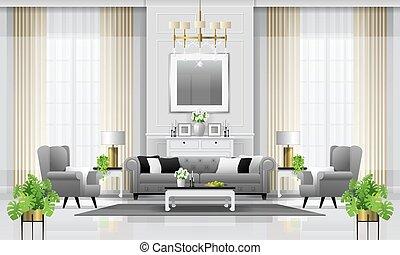 vivente, stile, stanza, classico, 1, lusso, fondo, interno, mobilia