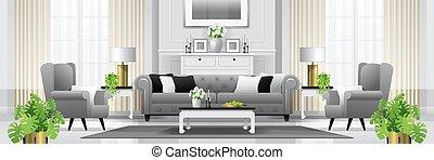 vivente, stile, stanza, classico, 2, lusso, fondo, interno, mobilia