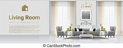 vivente, stile, stanza, classico, 3, lusso, fondo, interno, mobilia