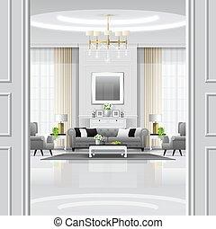 vivente, stile, stanza, classico, 5, lusso, fondo, interno, mobilia