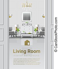 vivente, stile, stanza, classico, fondo, lusso, 7, interno, mobilia