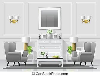 vivente, stile, stanza, classico, lusso, fondo, 6, interno, mobilia