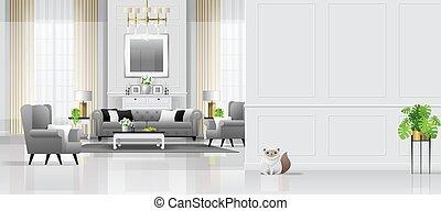 vivente, stile, stanza, classico, lusso, fondo, interno, mobilia, 4