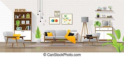 vivente, stile, stanza, secolo, moderno, mezzo, fondo, interno