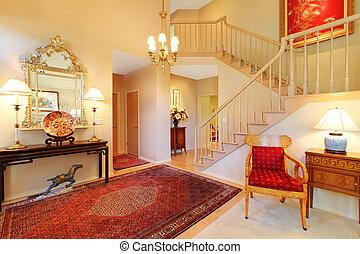 vivente, tappeto, stanza, staircase., entrata, lusso, rosso