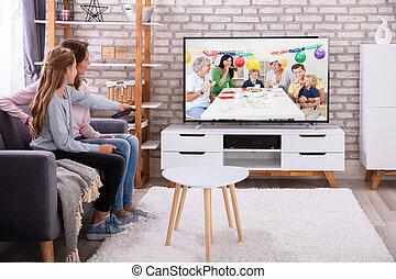vivente, televisione, figlia, stanza, osservare, madre