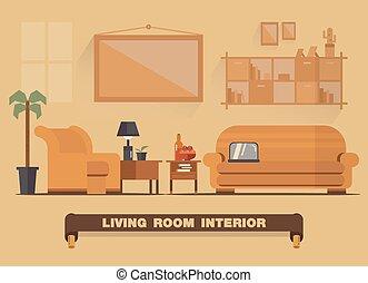 vivente, tono, stanza, appartamento, elemento, disegno, interno, terra