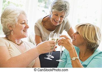 vivente, tostare, stanza, tre, sorridente, champagne, donne