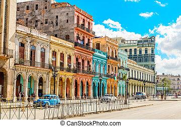 vivente, vecchio, centro, colorito, cuba, coloniale, case, spagnolo, avana, attraverso, strada