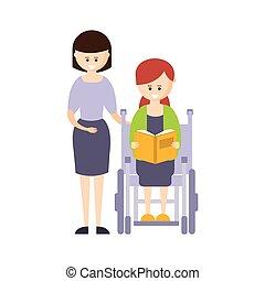 vivente, vita, pieno, fisicamente, carrozzella, incapacità, illustrazione, persona svantaggiata, libro, sorridente, lettura, ragazza, felice