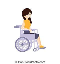 vivente, vita, pieno, fisicamente, carrozzella, incapacità, illustrazione, persona svantaggiata, donna sorridente, felice