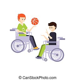 vivente, vita, pieno, fisicamente, incapacità, illustrazione, persona svantaggiata, pallacanestro, sedie rotelle, sorridente, tipi, gioco, felice