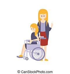 vivente, vita, pieno, lei, fisicamente, carrozzella, incapacità, illustrazione, persona svantaggiata, madre, ragazza sorridente, felice