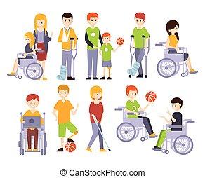 vivente, vita, pieno, persone, fisicamente, uomini, incapacità, handicappato, set, invalido, illustrazioni, sorridere felice, donne