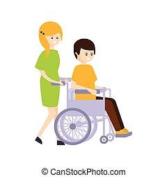 vivente, vita, pieno, ragazza, fisicamente, carrozzella, incapacità, illustrazione, persona svantaggiata, rimbombante, tipo, sorridere felice
