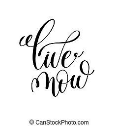 viver, agora, preto branco, tinta, lettering, positivo, citação