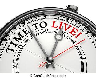 viver, conceito, relógio tempo