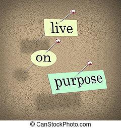 viver, ligado, propósito, palavras, ligado, placa boletim,...