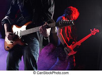 viver, músicos, tocando, concerto, rocha