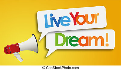 viver, megafone, sonho, seu