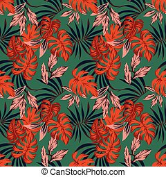 Vivid abstract color tropical leaves seamless pattern