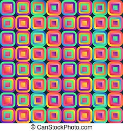 Vivid abstraction with multicolored cubes arranged in seamless pattern of background.
