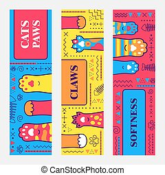 Vivid banner designs with cats paws
