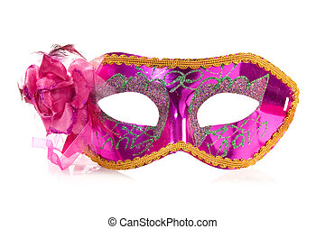 vivid carnival mask over a white background