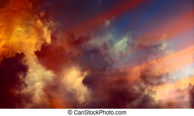 Vivid clouds in the sky. Animated video