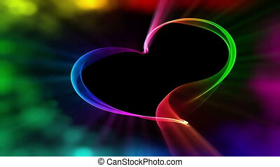 Vivid colorful heart ribbon with bokeh lights, the concept of love
