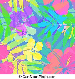Vivid colors bright tropical flowers vector seamless pattern...