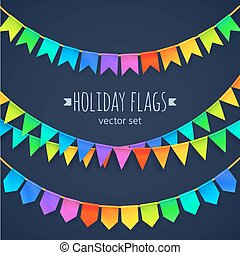 Vivid colors rainbow flags garlands set isolated on dark...