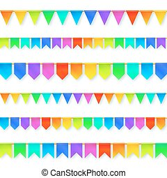 Vivid colors rainbow flags garlands set isolated on white ...