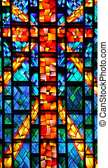 stained glass church window - Vivid cross design on stained...