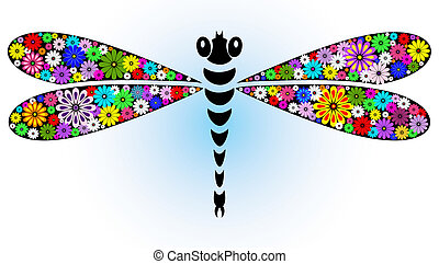 Vivid fantasy floral abstract dragonfly for design on white-blue (vector)