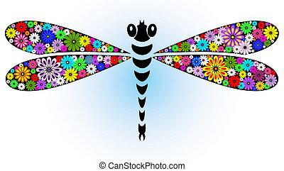 Vivid fantasy dragonfly - Vivid fantasy floral abstract ...