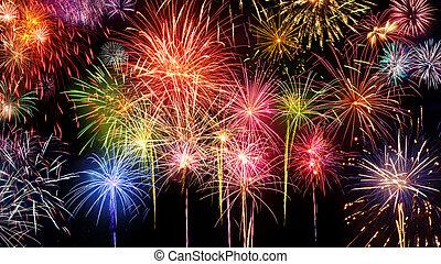 Vivid fireworks display on black