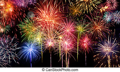 Vivid fireworks display on black - Lively multi-colored...