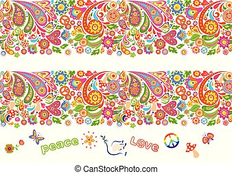 Vivid floral colorful seamless borders with hippie symbol, flower-power, fly agaric, rainbow and paisley