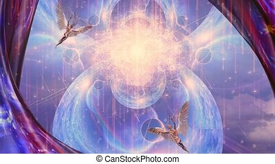 Vivid galaxy. Winged men represents angels