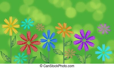 Vivid green background with growing flowers and blurry bokeh lights. Beautiful background for spring or summer advertisement
