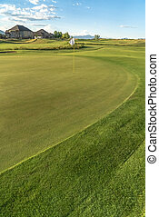 Vivid green fairway of a golf course with a hole and flagstick at the center