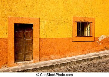 Vivid Mexico - Vibrant colors on a building in downtown San...