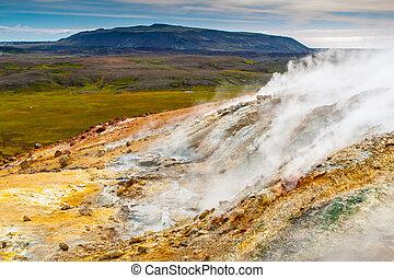 Vivid multicolored land in geothermal area Seltun near Krysuvik, Iceland