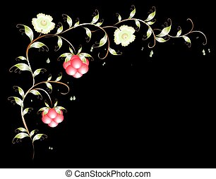 Vivid pattern of flowers and raspberries on a dark background. EPS10 vector illustration