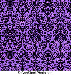 Damask design on bright purple background.