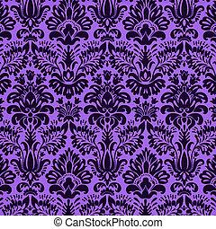 vivid purple damask background - Damask design on bright...