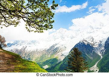Vivid scenery from top of Mont Blanc, Alps