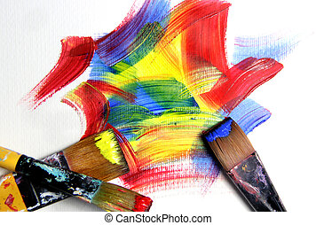 Vivid playful strokes and paintbrushes
