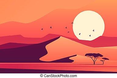 Vivid sunset over the african desert dunes. Vector illustration